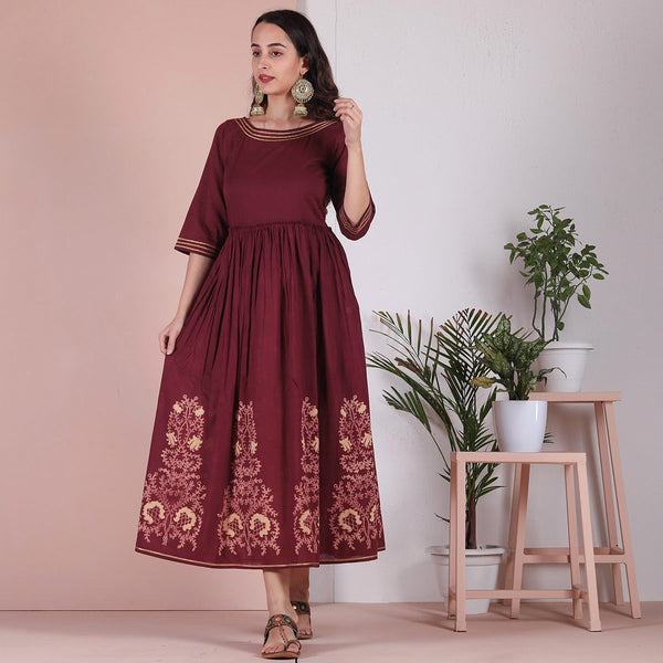 Maroon Hem Printed Gathered Cotton Dress with Gota Details
