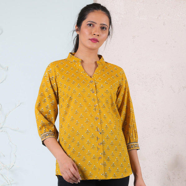 Yellow Floral Printed Shirt