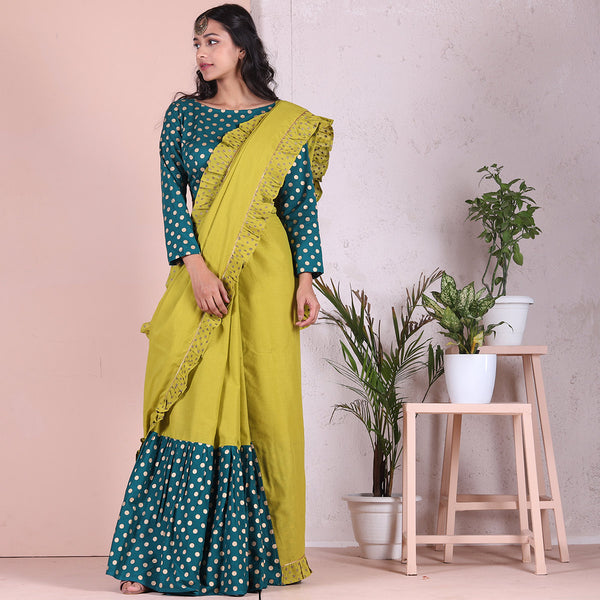 Olive & Teal Frill & Froth Gold Printed Saree
