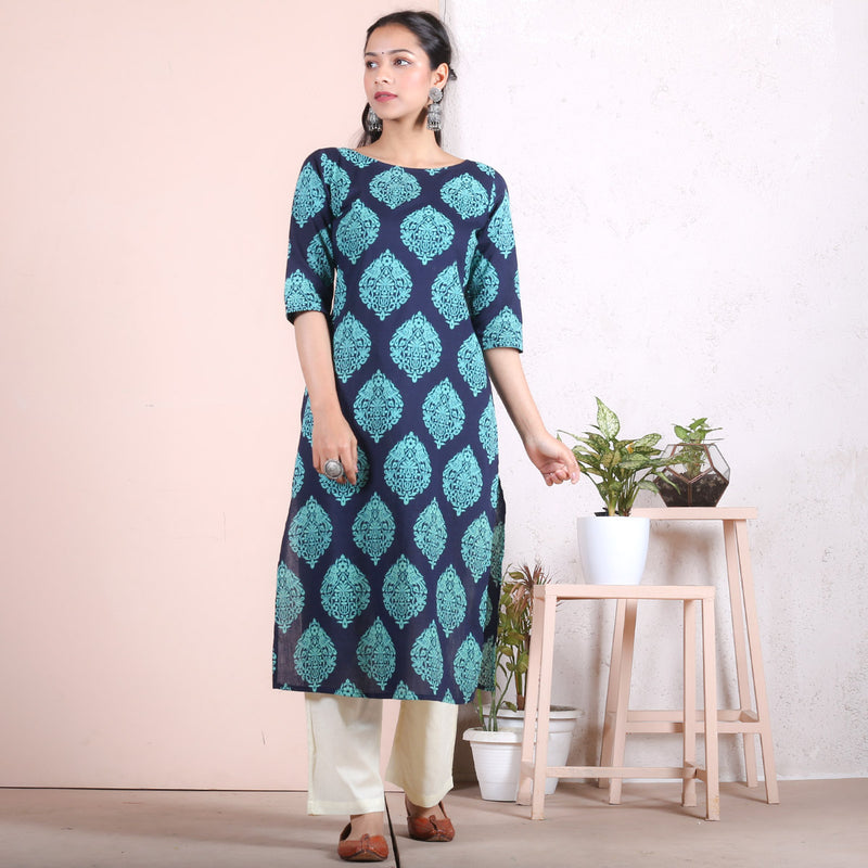 Blue & Teal Traditional Straight Kurta