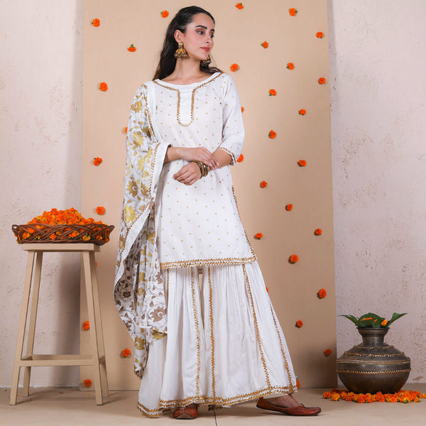 Ivory & Gold Gharara Kurta Dupatta Set with Gota Work