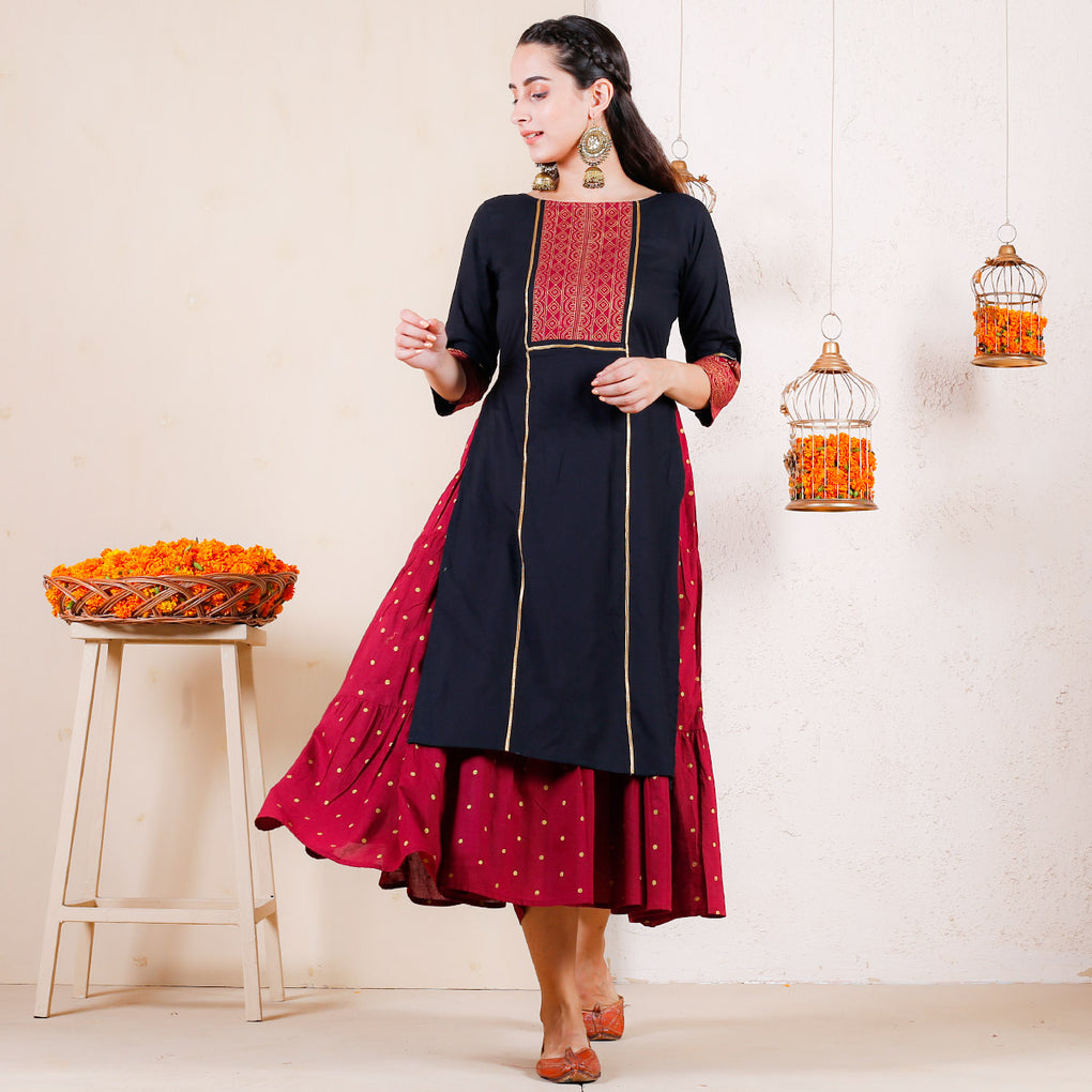 Black & Maroon Over Layered Tiered Kurta Dress with Yoke Details