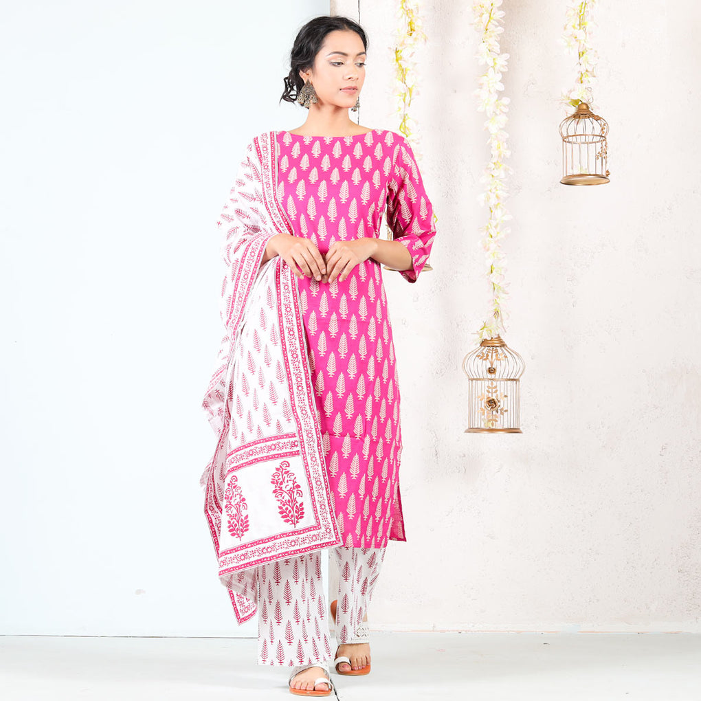 Magenta & White Buti Printed Cotton Kurta Set