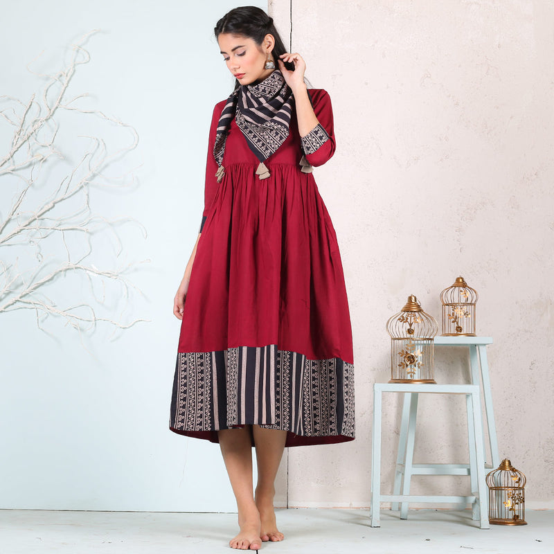 Maroon & Black Cotton Gathered Dress With Scarf