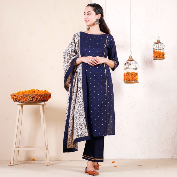 Blue Polka Kurta Pant Set with Beige Floral Dupatta