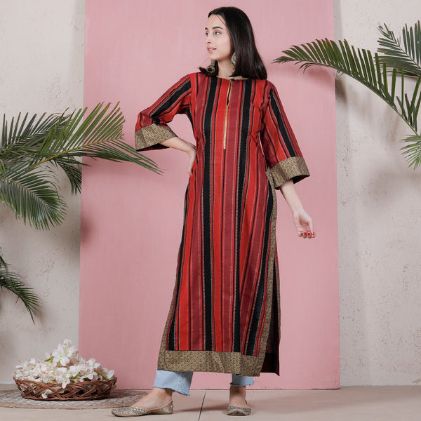 Black Red & Maroon Striped Long Kurta