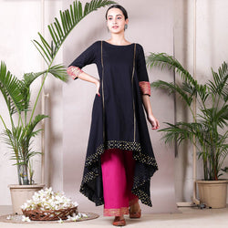 Black & Magenta Printed Asymmetric Kurta with Palazzo