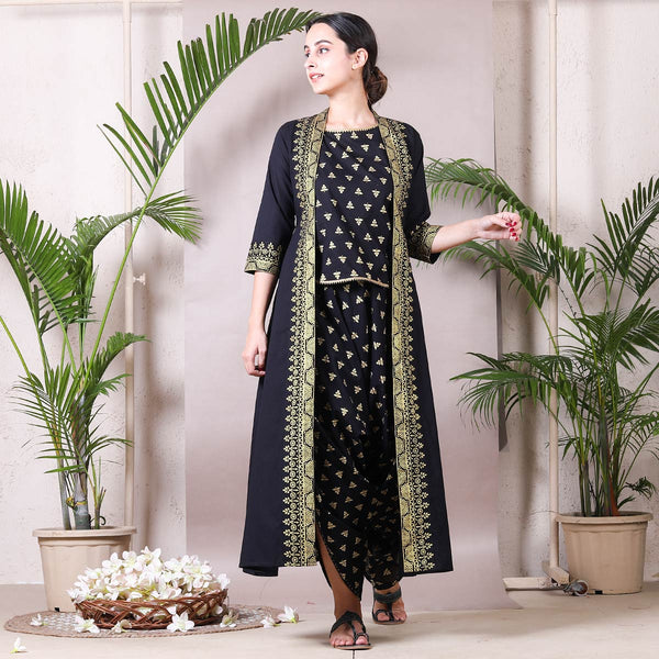 Black Gold Printed Dhoti Top Set with Detachable Shrug