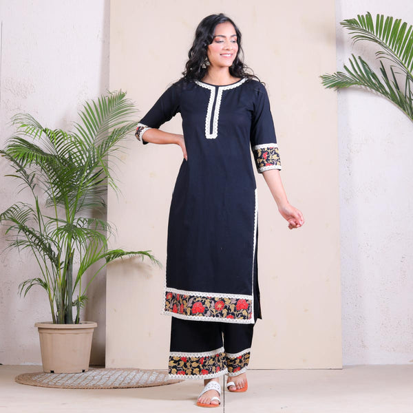 Black Festive Kurta Palazzo Set with Border Details