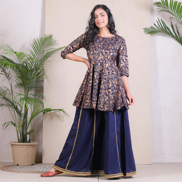 Blue Festive Peplum Sharara Set with Gota Details