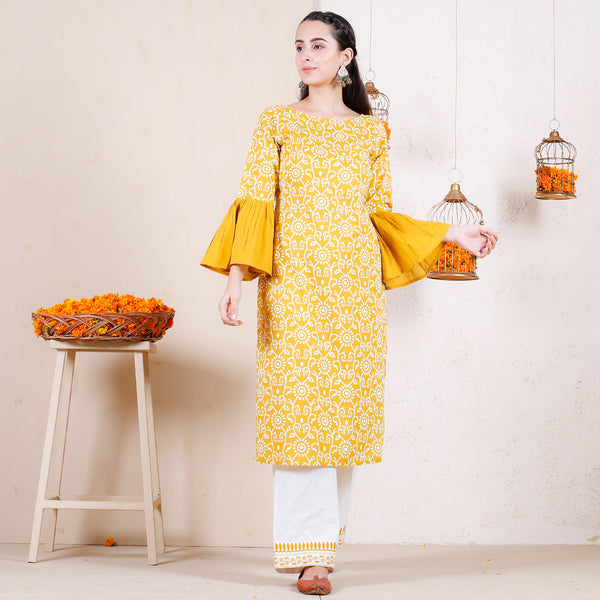 Kesari Bagh Cotton Kurta with Frilled Sleeves & Pants