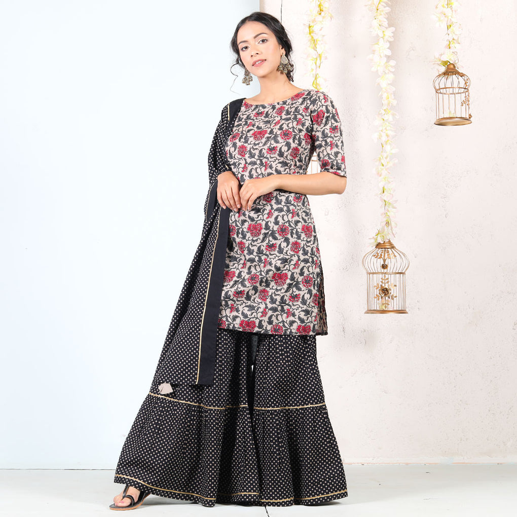 Black & Beige Floral Tiered Gharara Kurta Cotton Set