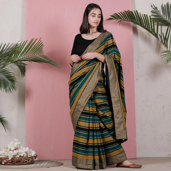 Multicolour Striped Saree with Gold Border Details