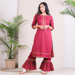 Maroon Gold Polka Frill Pant with Cotton Kurta Set