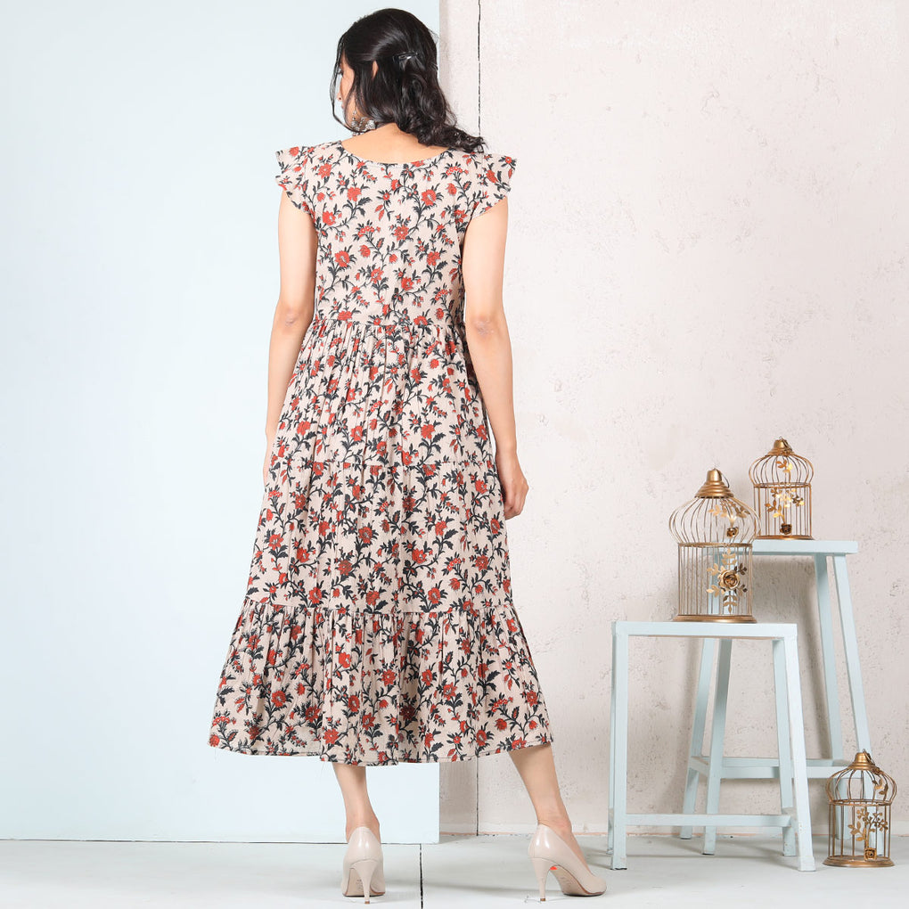 Beige Floral Jaal Cotton Tiered Dress