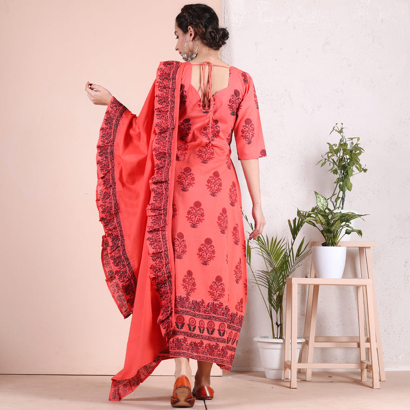 Peach Hand Printed Long Kurti with Peach Dupatta