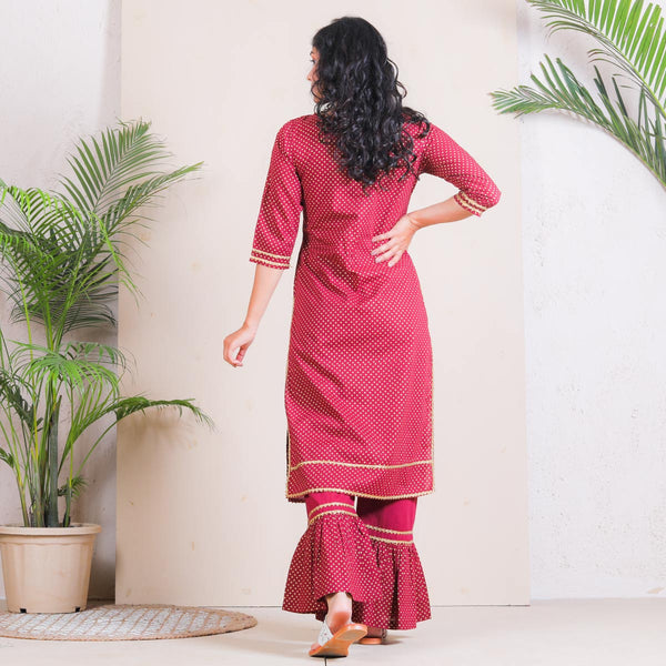 Maroon Gold Polka Frill Pant with Kurta Set