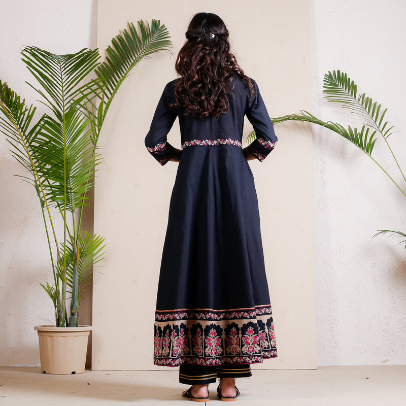 Black Maharani Front Slit Kurta Pant Set with Temple Border
