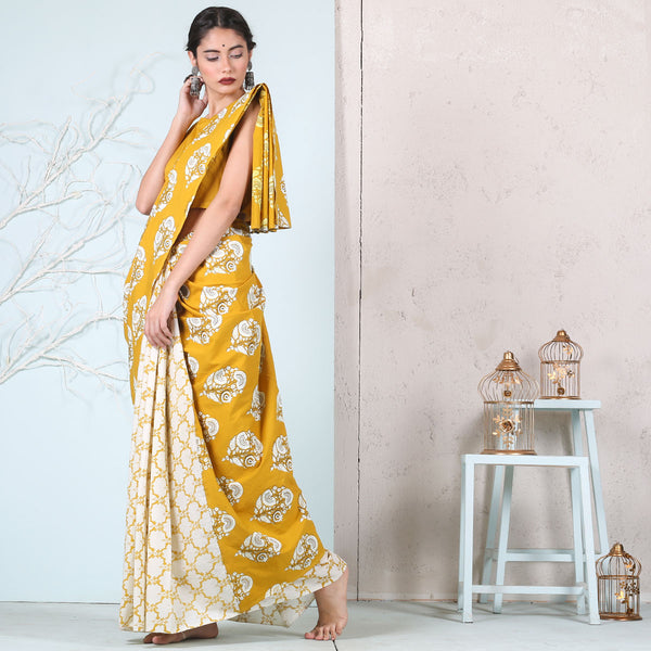 Yellow Jaal with Floral Buta Printed Cotton Half & Half saree