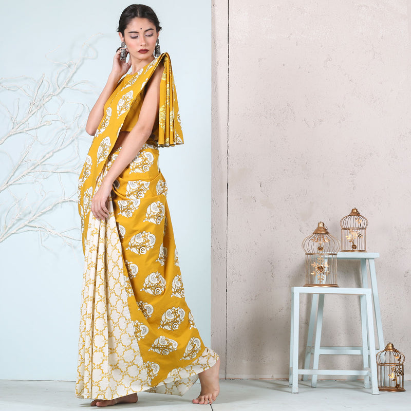 Yellow Jaal with Floral Buta Printed Half & Half saree
