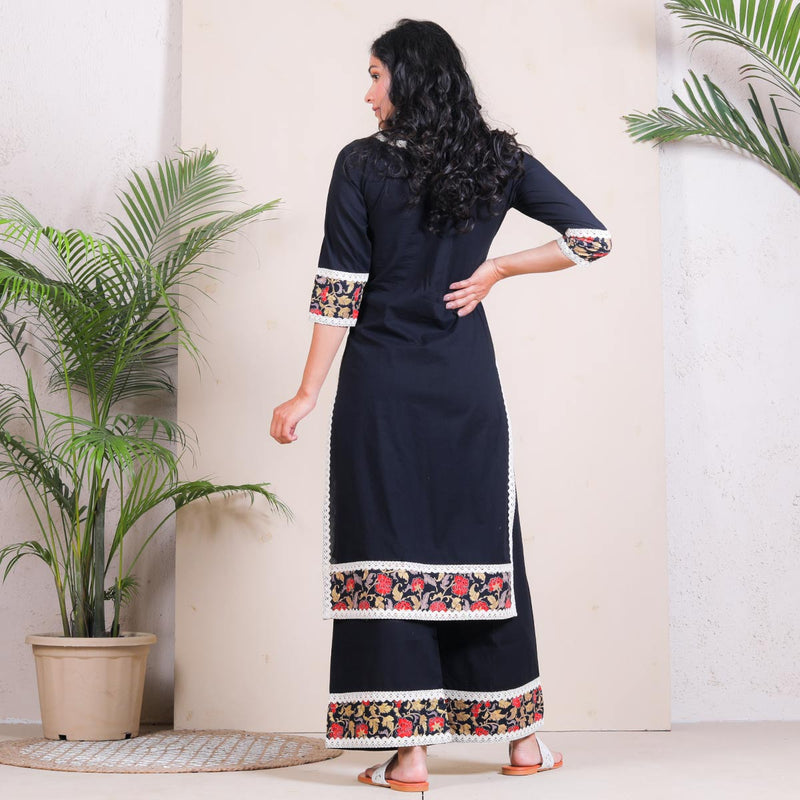 Black Festive Cotton Kurta Palazzo Set with Border Details