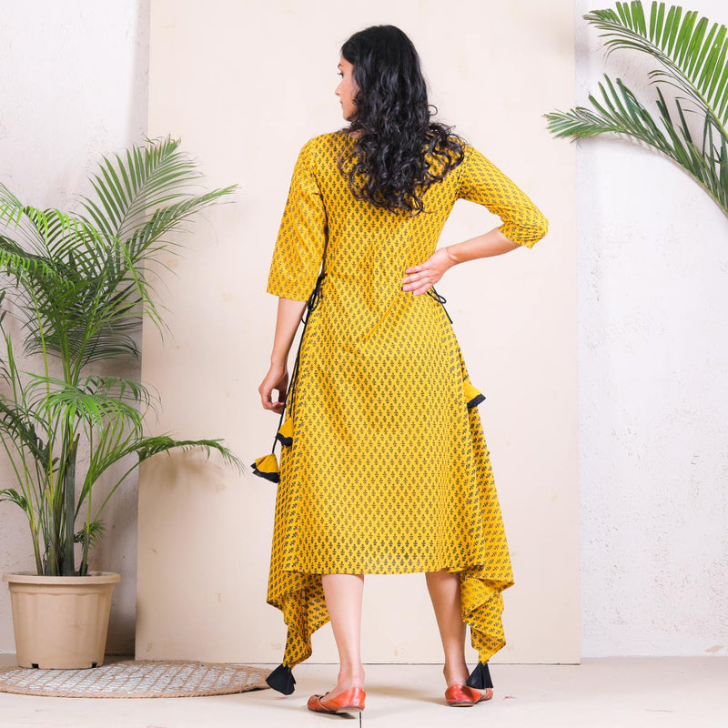 Yellow Buti Printed Asymmetric Dress with Tassels