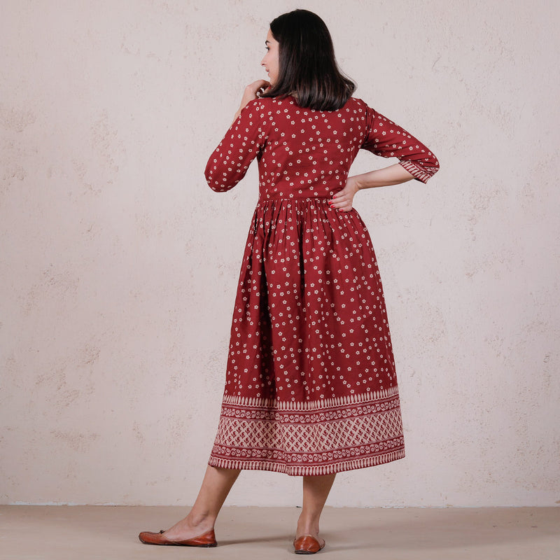 Maroon Chintz Floral Printed Gathered Dress