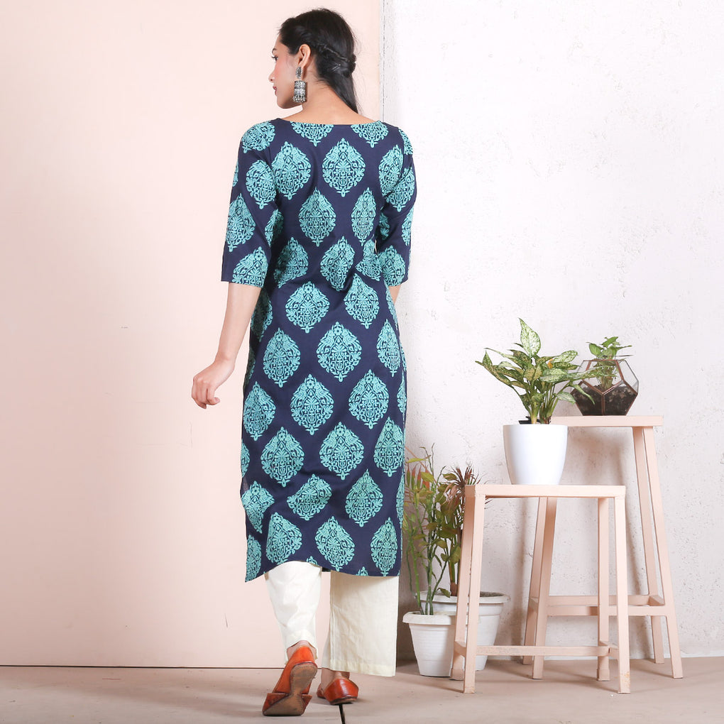 Blue & Teal Traditional Straight Cotton Kurta