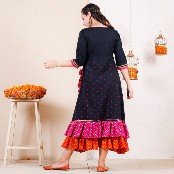 Black with Magenta & Rust Polka Printed Double Frill Dress with Tassels