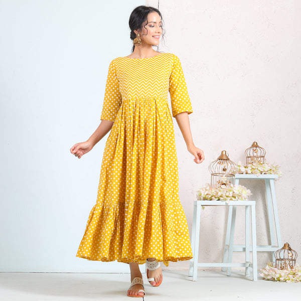 Yellow Polka Gathered Tiered Cotton Dress