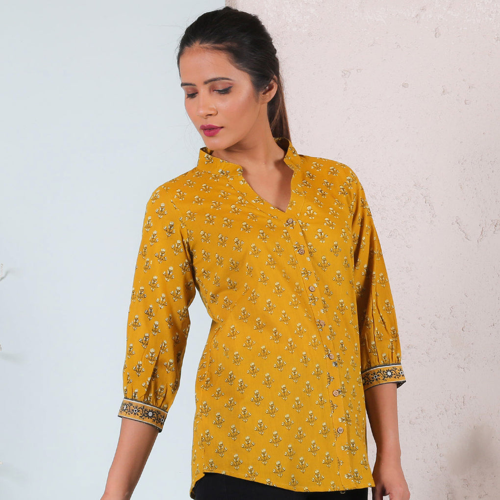 Yellow Floral Printed Cotton Shirt