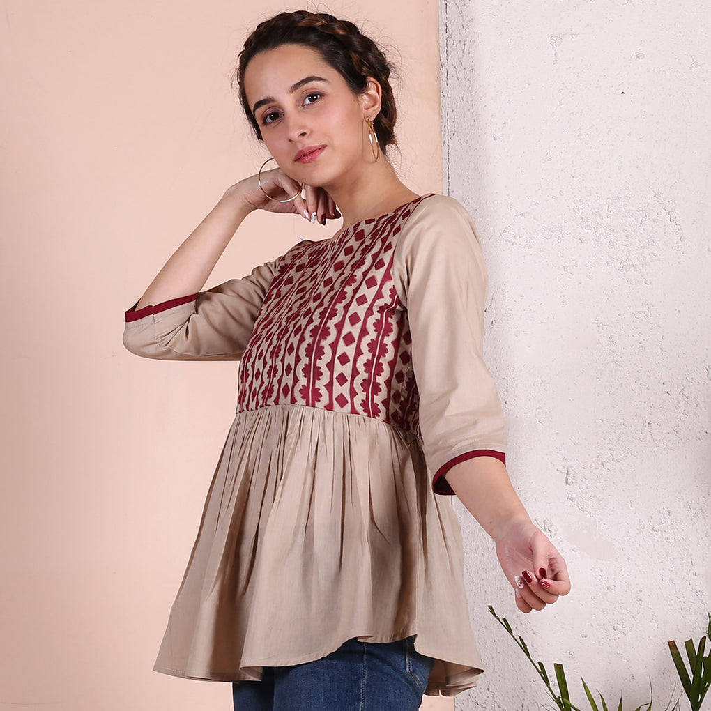 Beige Gather Top with Maroon Sleeve Detail