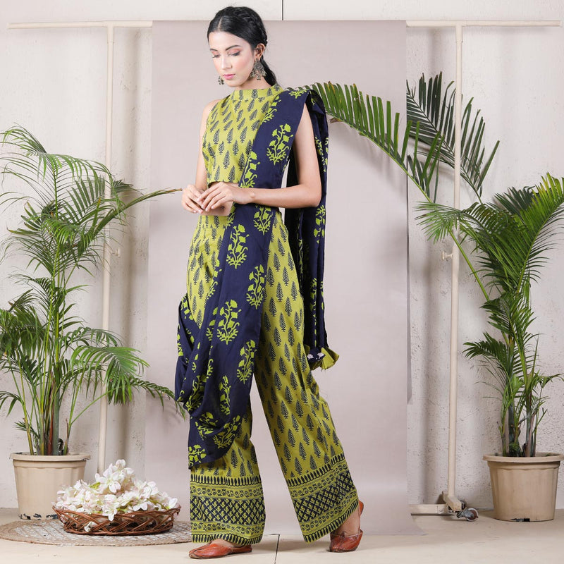 Olive & Blue Printed Cotton Pant Saree