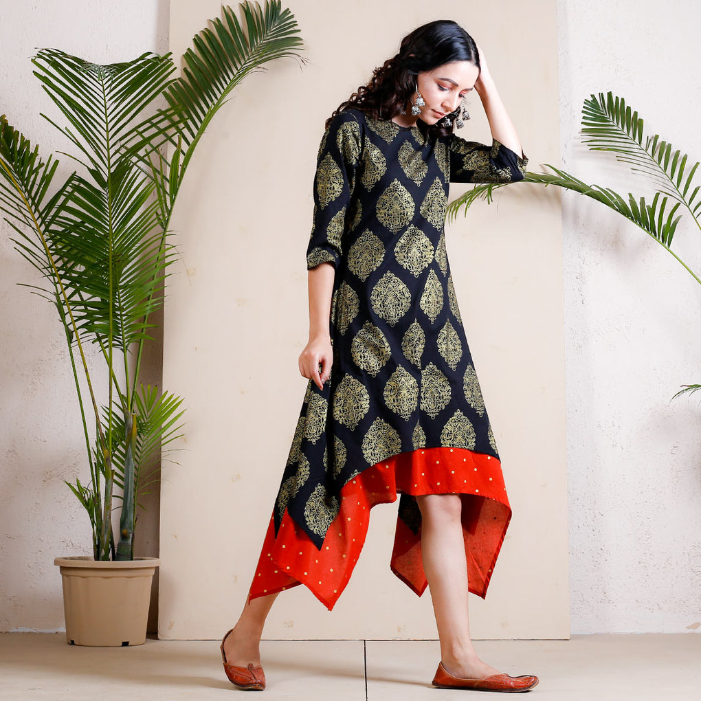 Black Festive Asymmetric Cotton Dress with Rust Underlayer