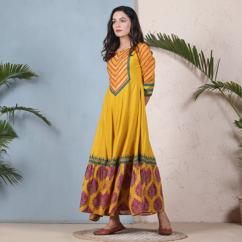 Yellow & Pink Kalidaar Dress with Hem Frill & Yoke Details