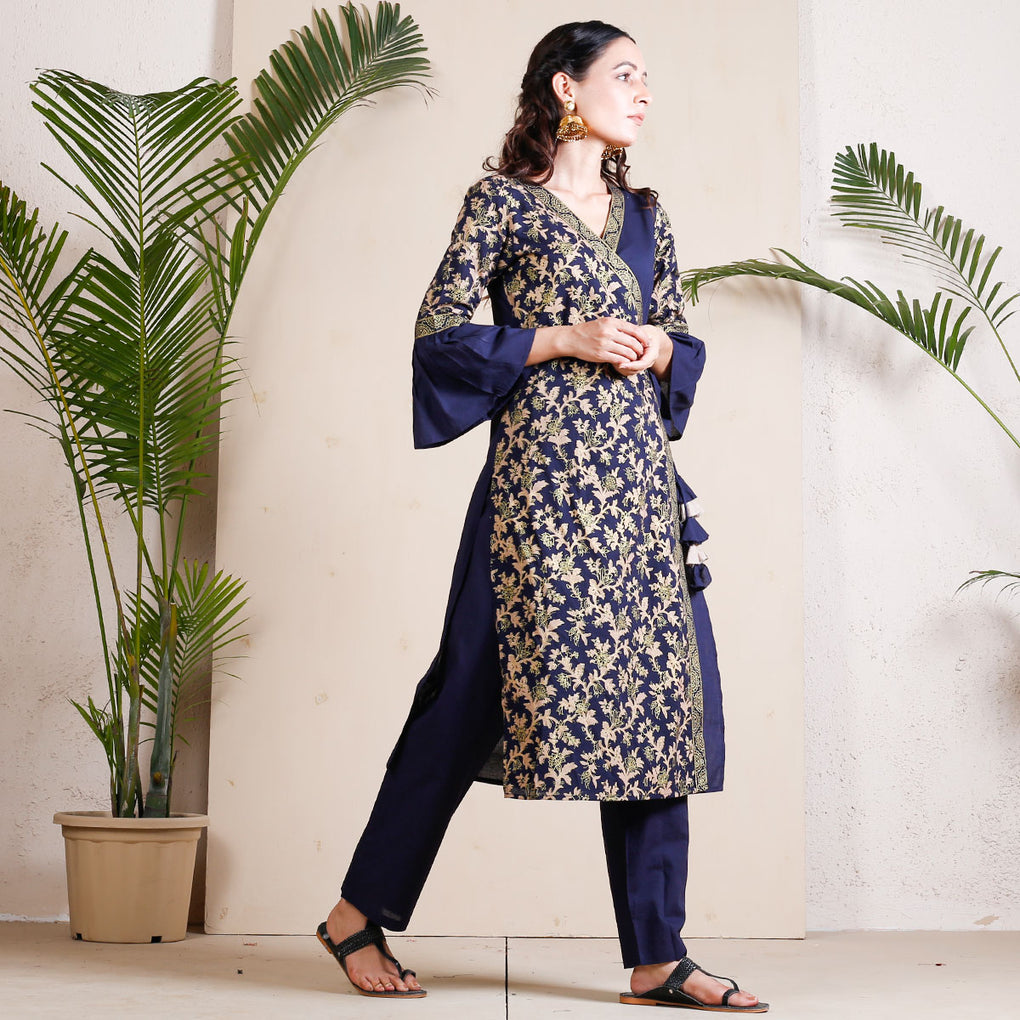 Blue Festive Angrakha Bell Sleeves Cotton Kurta with Tassels