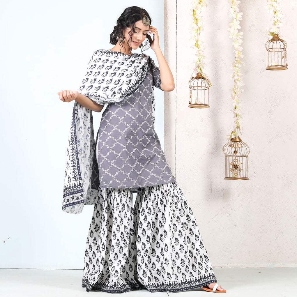 Grey White Oji Jal Printed Cotton Gharara Kurta Dupatta Set