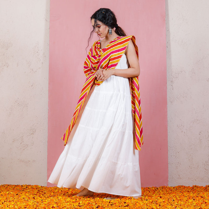 Peach & Pink Leheriya Inspired Dupatta with White Tiered Dress