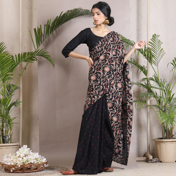 Black Polka Jaal Half & Half Saree with Tassels
