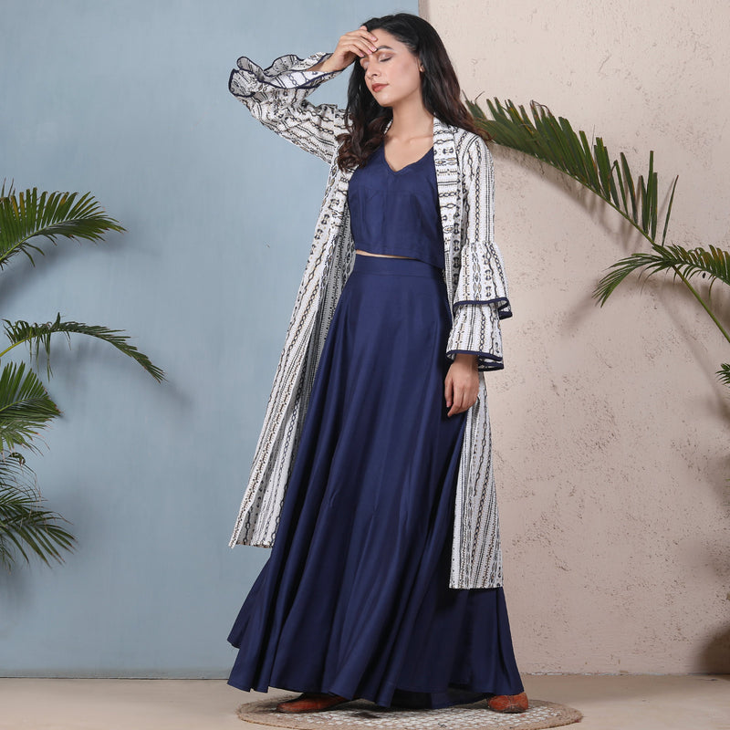 Indigo Blue Crop Top Skirt Set with Tiered Bell Sleeves Shrug