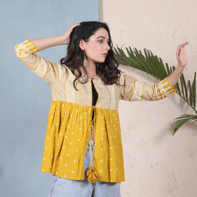 Yellow & Off White Ajrakh Inspired Front Open Gathered Shrug