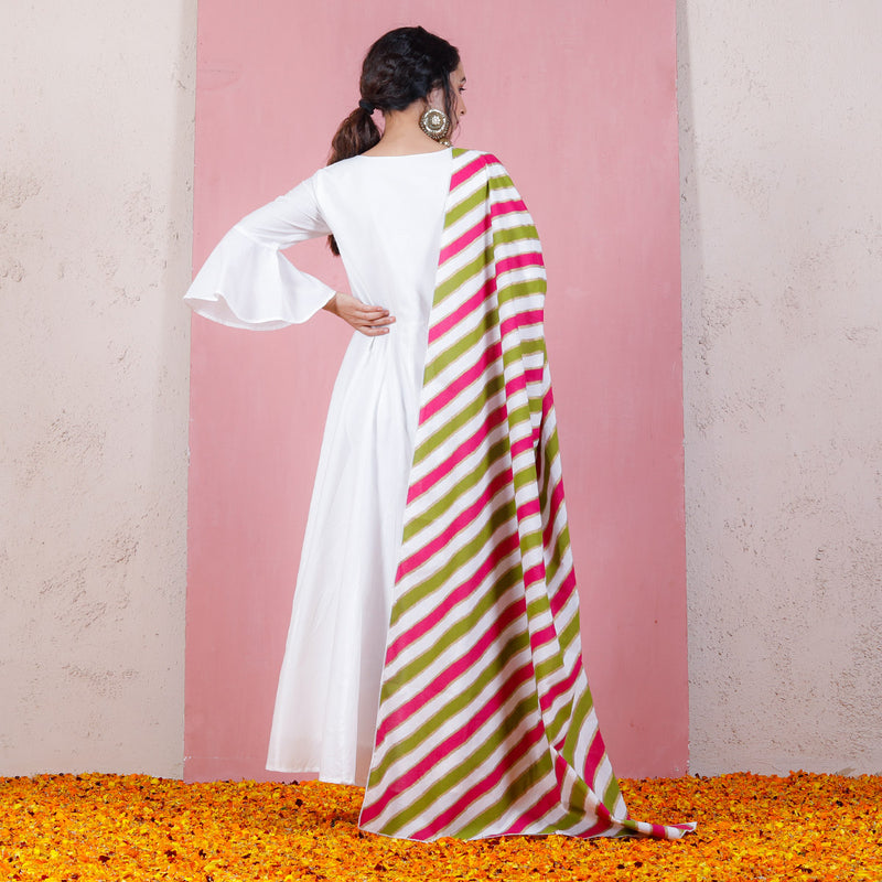 Olive & Pink Leheriya Inspired Dupatta with Bell Sleeved Kalidaar Dress
