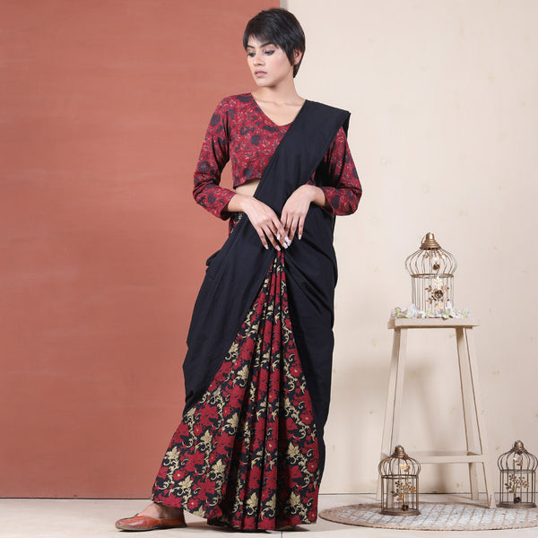 Black Night Garden Jaal Half & Half Saree