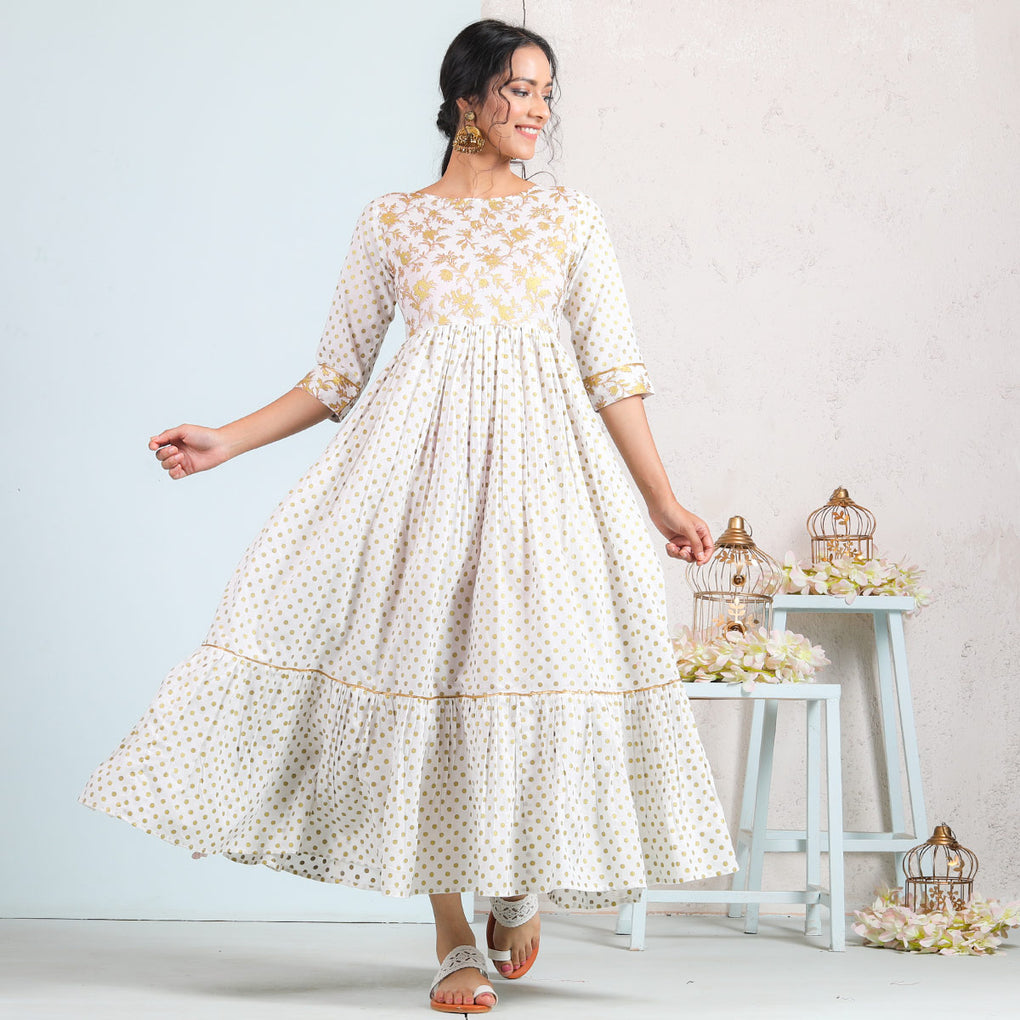 White Gold Gathered Tiered Cotton Dress