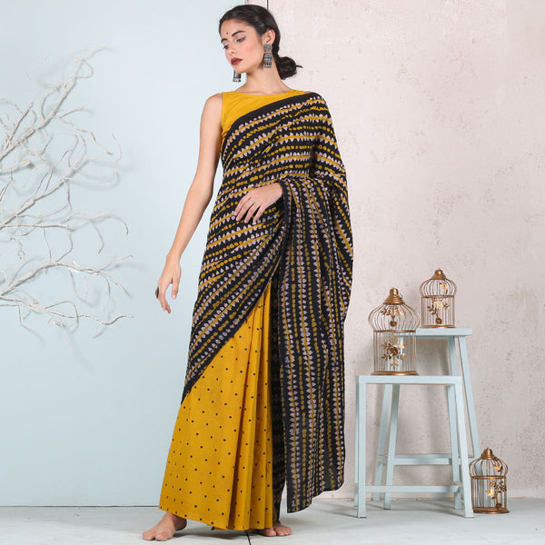 Yellow & Black Retro Half & Half saree