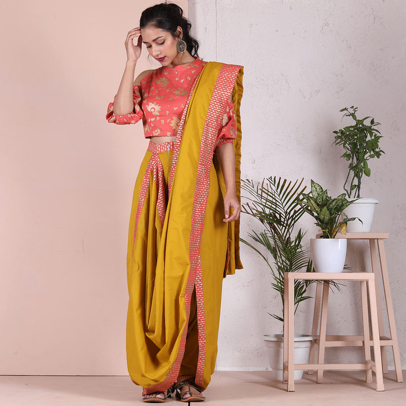 Yellow Dhoti Saree with Gold Printed Border Details