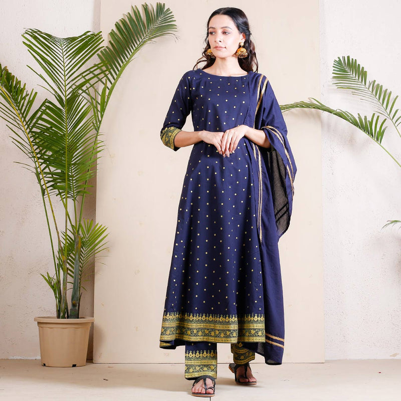 Starry Night Flared Full Kurta Set with Gota Detail