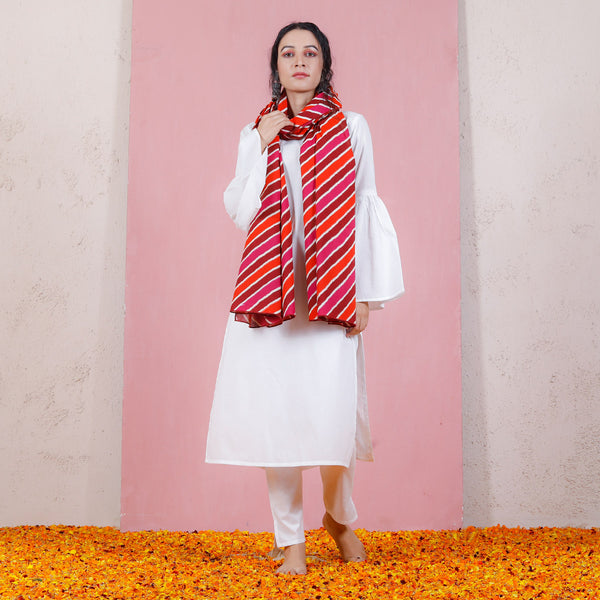 Maroon Rust & Pink Leheriya Inspired Dupatta with Bell Sleeved Salwar Kurta