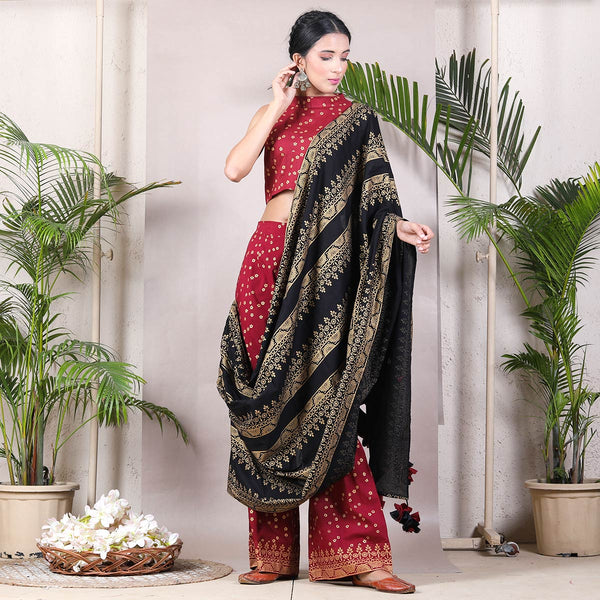 Maroon & Black Printed Pant Saree with Tassels