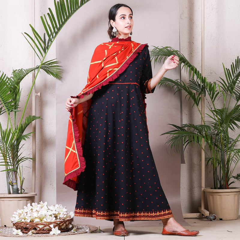 Black Polka Printed Kalidaar Dress with Rust Frilled Dupatta